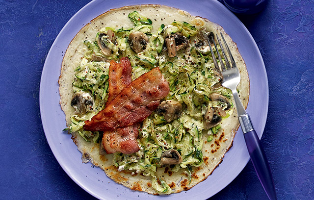 Creative Pancake Toppings: Courgette, Mushroom and Bacon Pancakes